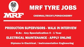 Diploma Holders Hiring For Electrical Engineer For Maintenance Department in MRF Limited Gujarat, Telangana and South India Plant