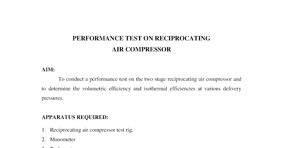PERFORMANCE TEST ON RECIPROCATING AIR COMPRESSOR ~ Marine Notes