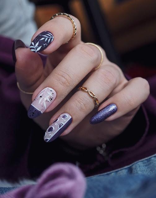 fioletowe paznokcie zdobienie