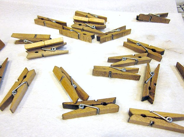 DIY Antiqued clothespins with supplies from home