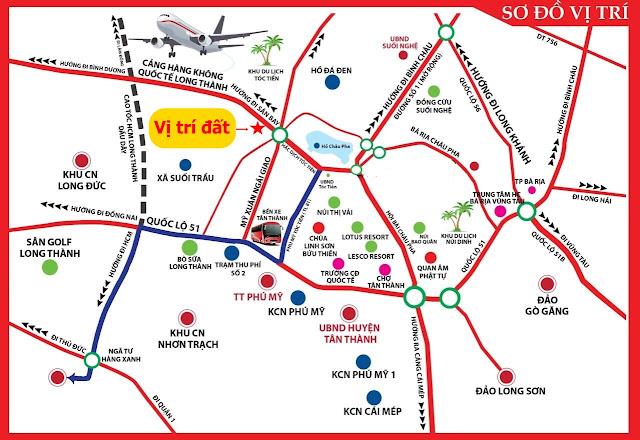 Bản đồ vị trí đất ở đô thị KP3 Hắc Dịch Phú Mỹ