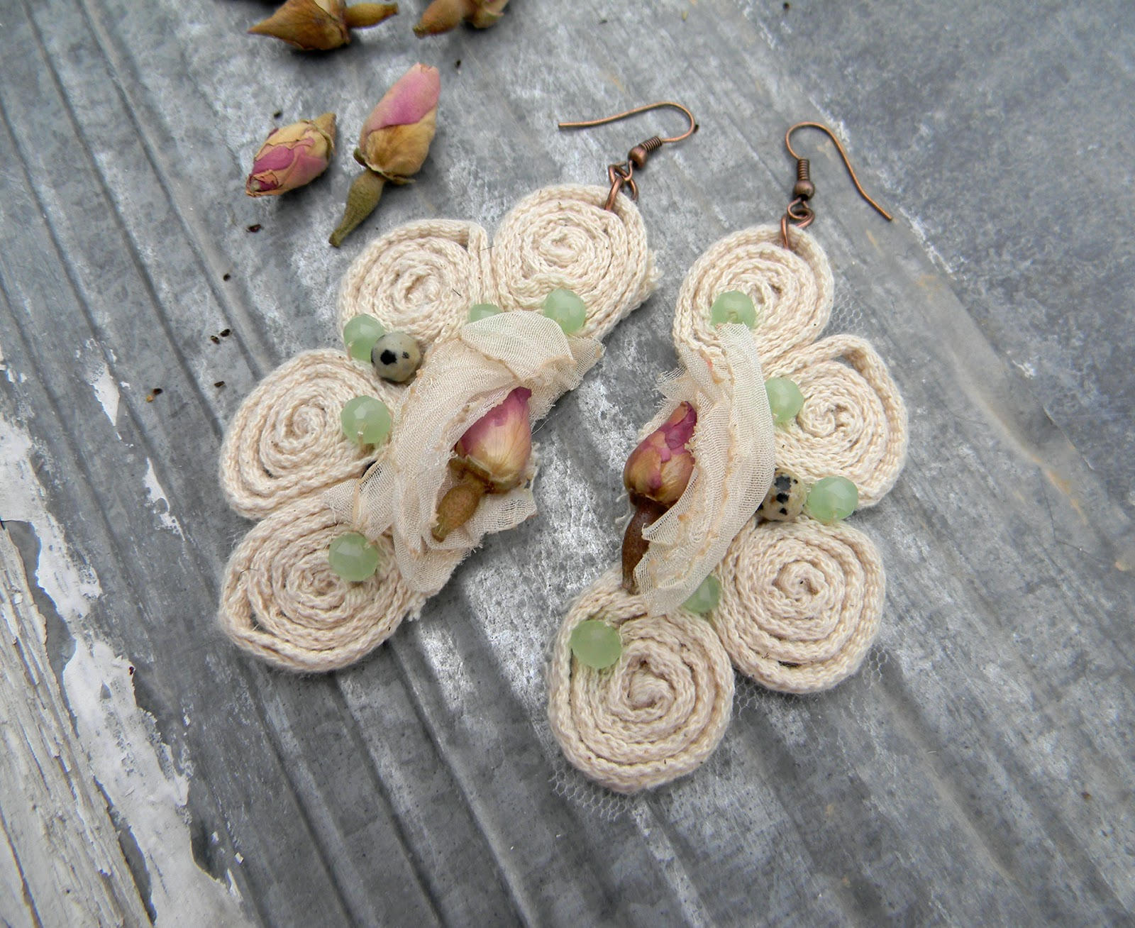 Unique Handmade Earrings Fashion Shabby Eco Chic Handcrafted Jewelry Original