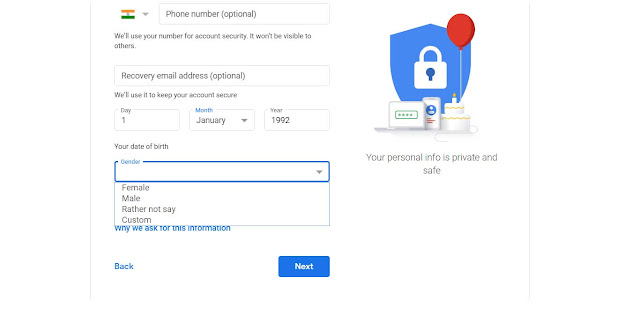create gmail account, gmail, gmail signup, select gender