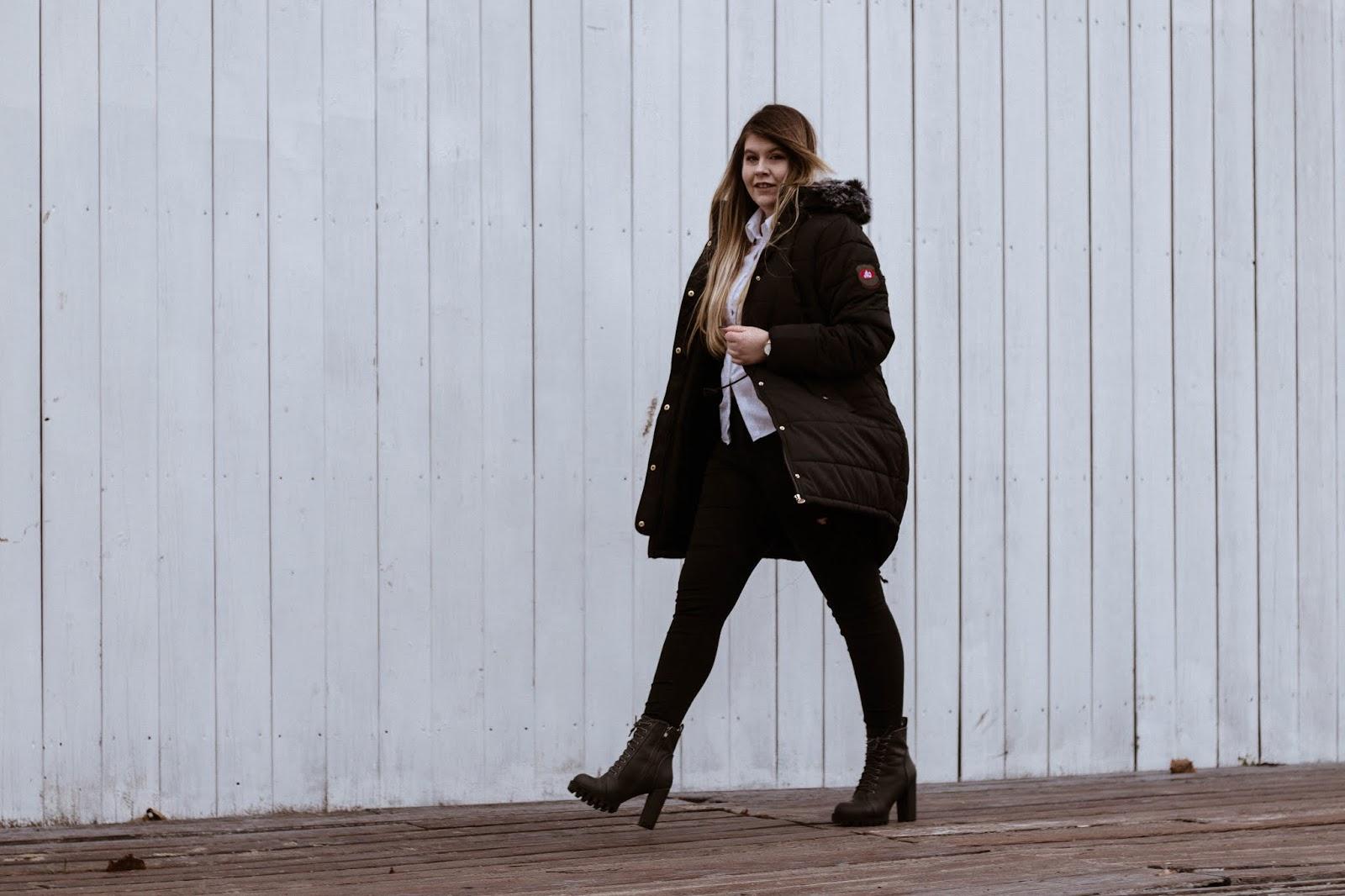 Zimowa Czarna Kurtka   Feather Mój Sposób Na Modę
