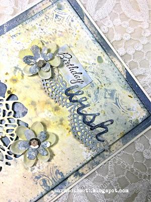 Sara Emily Barker https://sarascloset1.blogspot.com/ Mixed Media Birthday Card Tim Holtz Cutout Blossoms 2