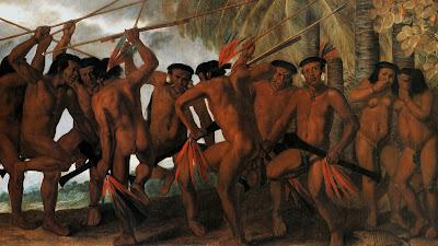 O quadro 'A Dança dos Tarairiu (Tapuias)', de Albert Eckhout, é mostrado  em  'O Desmonte do Monte'