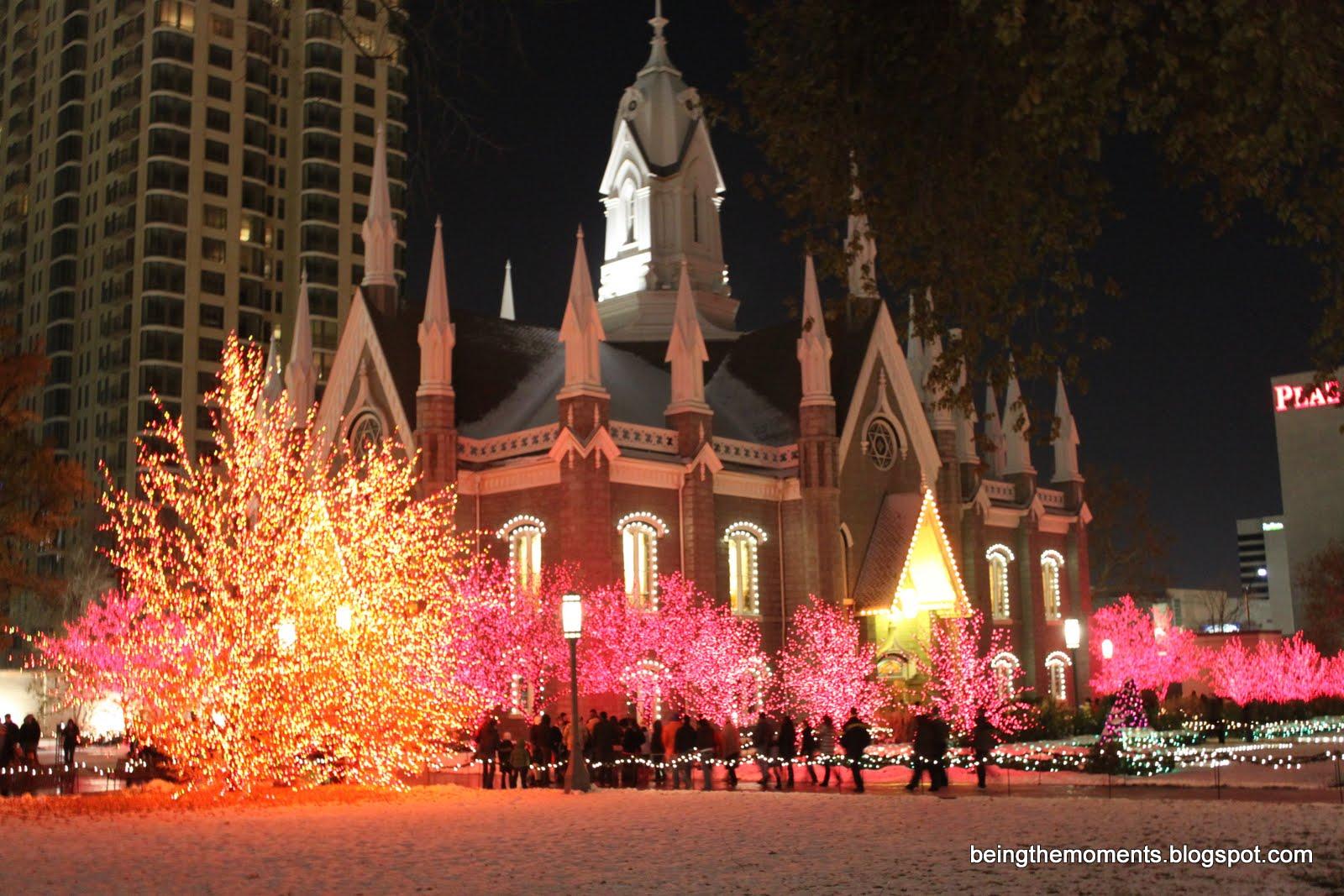 Temple Square Salt Lake City Christmas Lights.Christmas Lights Temple Square Salt Lake City Utah Usa