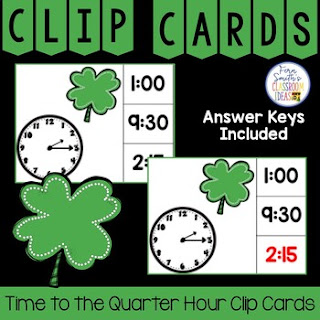 Time to the Quarter Hour Clip Cards Shamrock Themed