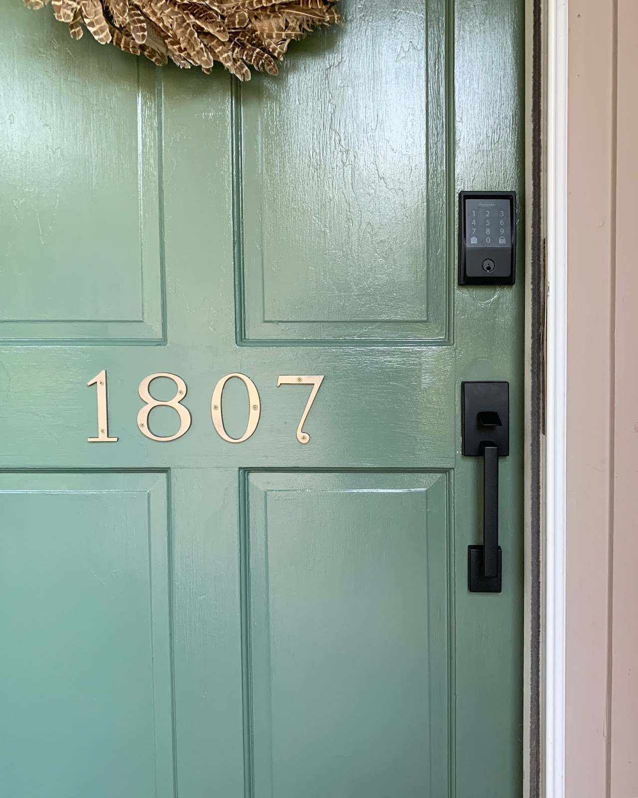 Curb Appeal Update! Fresh door color, new light, hardware and stenciled porch. | House Homemade