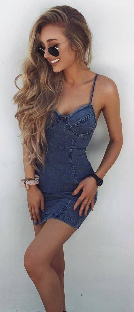 Denim summer dress. Casual Womens Fashion and Womens Cool Trending Clothes, Dresses. #womensfashion #womensdress #summeroutfit #casualoutfit