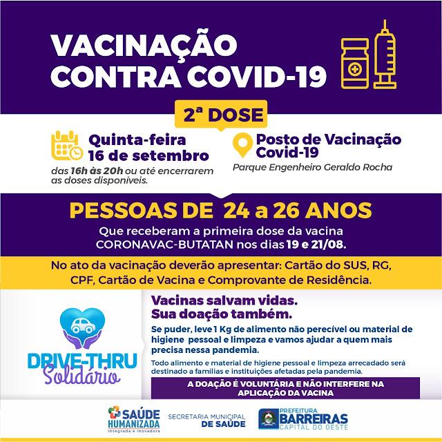 Barreiras segue imunizando sua população nesta quinta e sexta feira