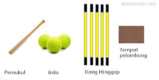 Peralatan yang dibutuhkan dalam permainan rounders adalah sebagai berikut : Lima tempat hinggap (base) terbuat dari keset, masing-masing berukuran 40 × 40 cm. Satu tempat pelambung (bowler) ukuran 40 cm × 40 cm. Kayu pemukul : panjang : 1 m, garis tengah : 7 cm, panjang pegangan : 48 cm Bola : keliling : 19-22 cm, dan berat : 80-100 gram