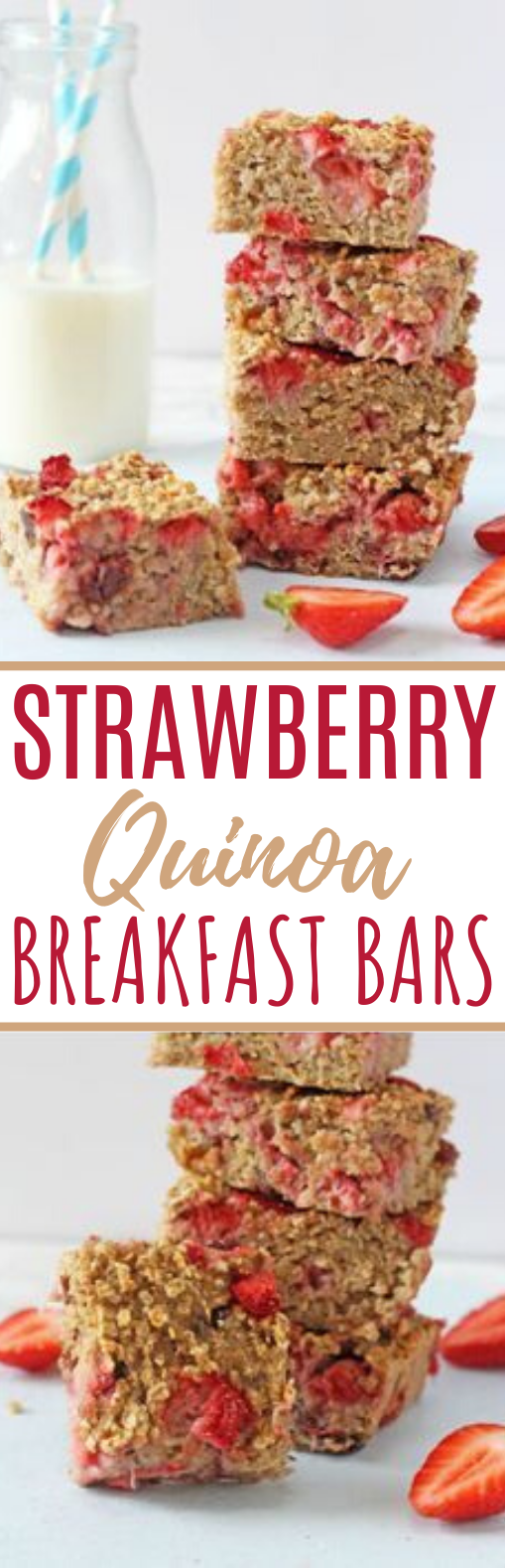 Strawberry Quinoa Breakfast Bars #healthy #breakfast #diet #vegetarian #mealprep