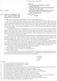 Surat Pengantar Penawaran Terbuka Kerjasama Politik Menghadapi Pilkada DKI Jakarta 2017