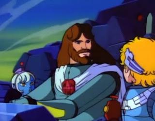 Fotograma del anime: Ulises 31. La imagen muestra a Ulises junto a su hijo Telémaco