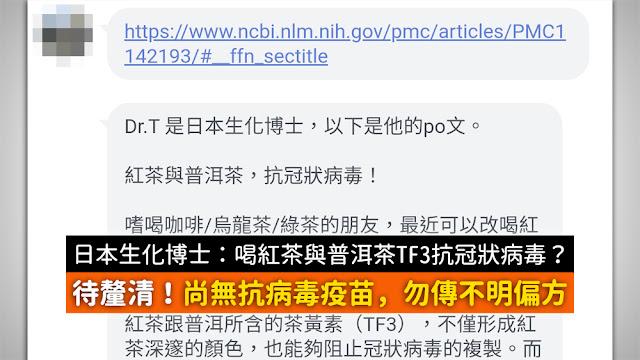 紅茶 普洱茶 抗冠狀病毒 TF3 論文 謠言