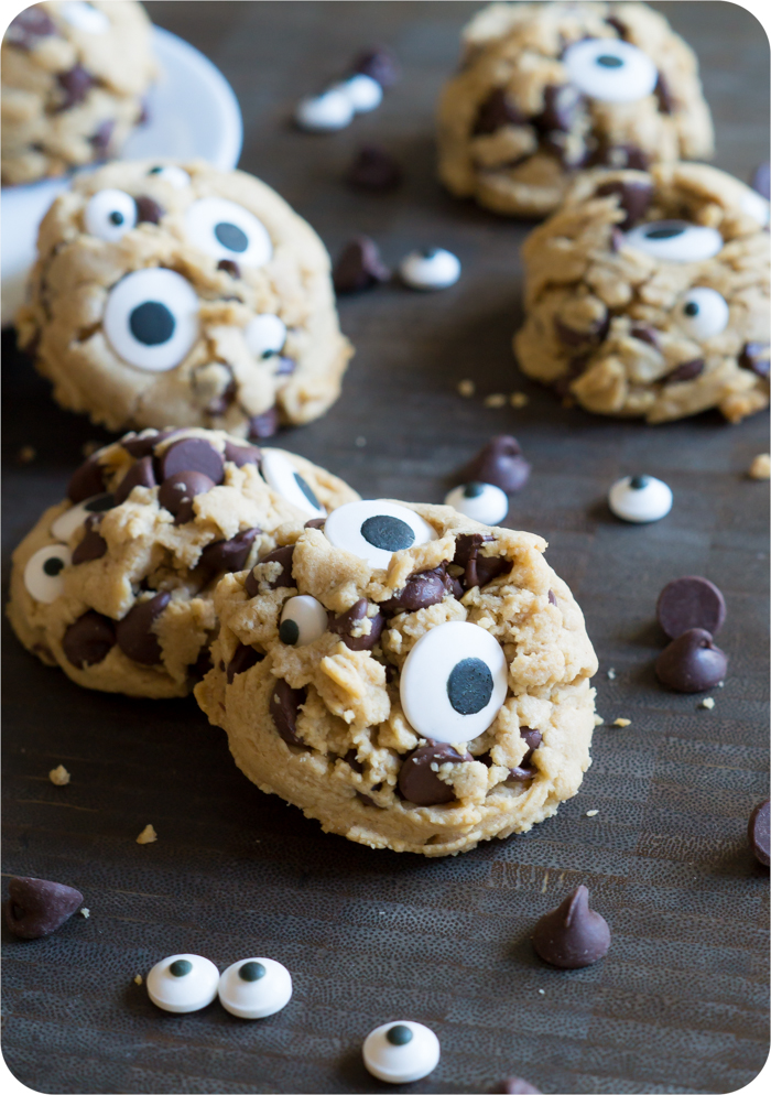 peanut butter chocolate chip googly eyes cookies