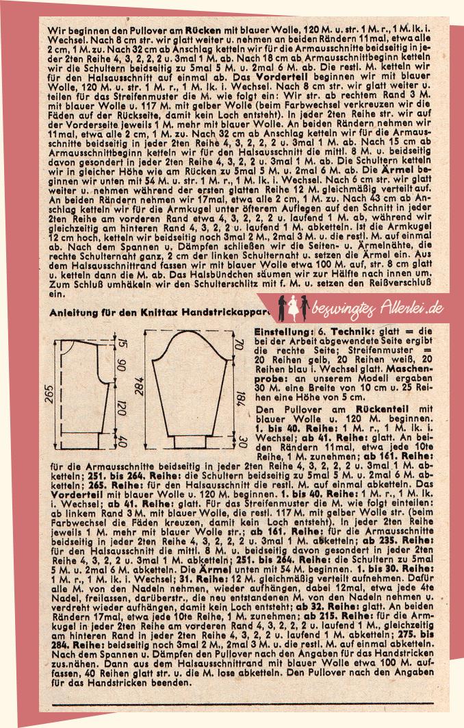 Strickanleitung: Pullover für Winter und Skisport aus der Elsa 11/1954 || beswingtesAllerlei.de