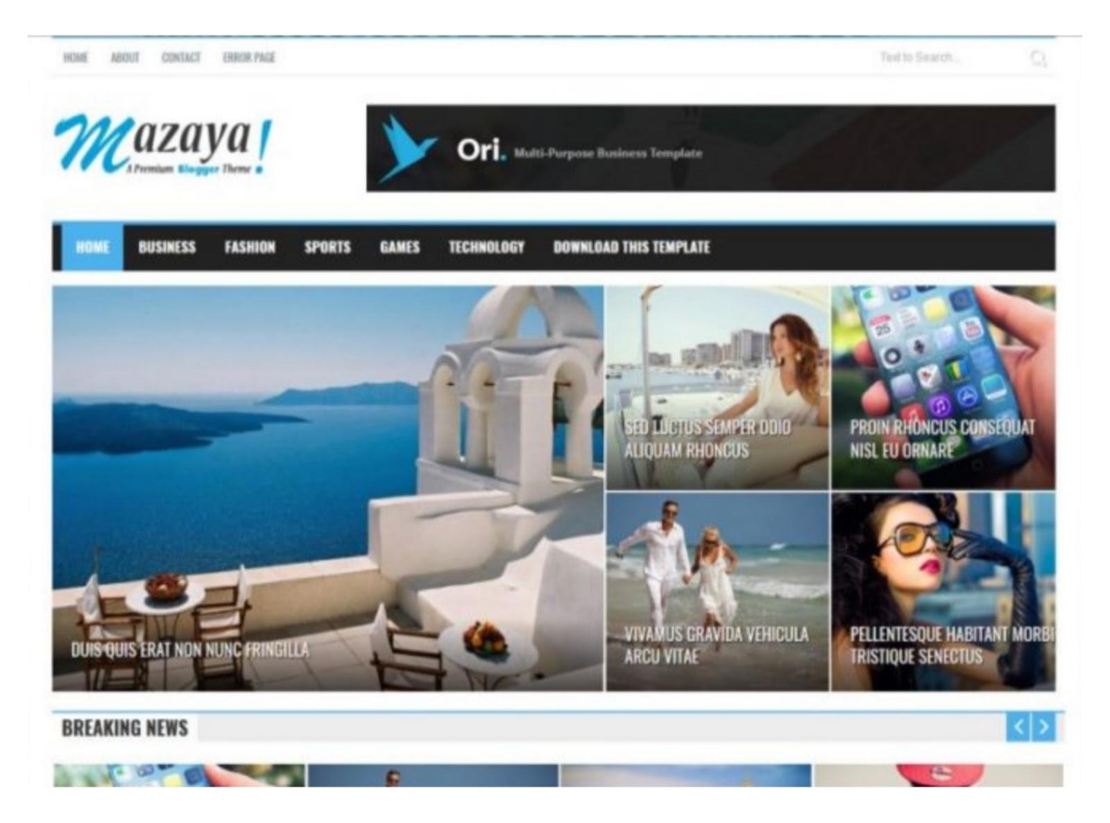 Mazaya News Blogger Template