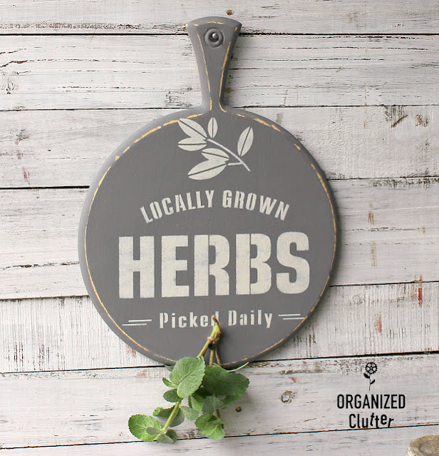 Photo of cutting board herb sign