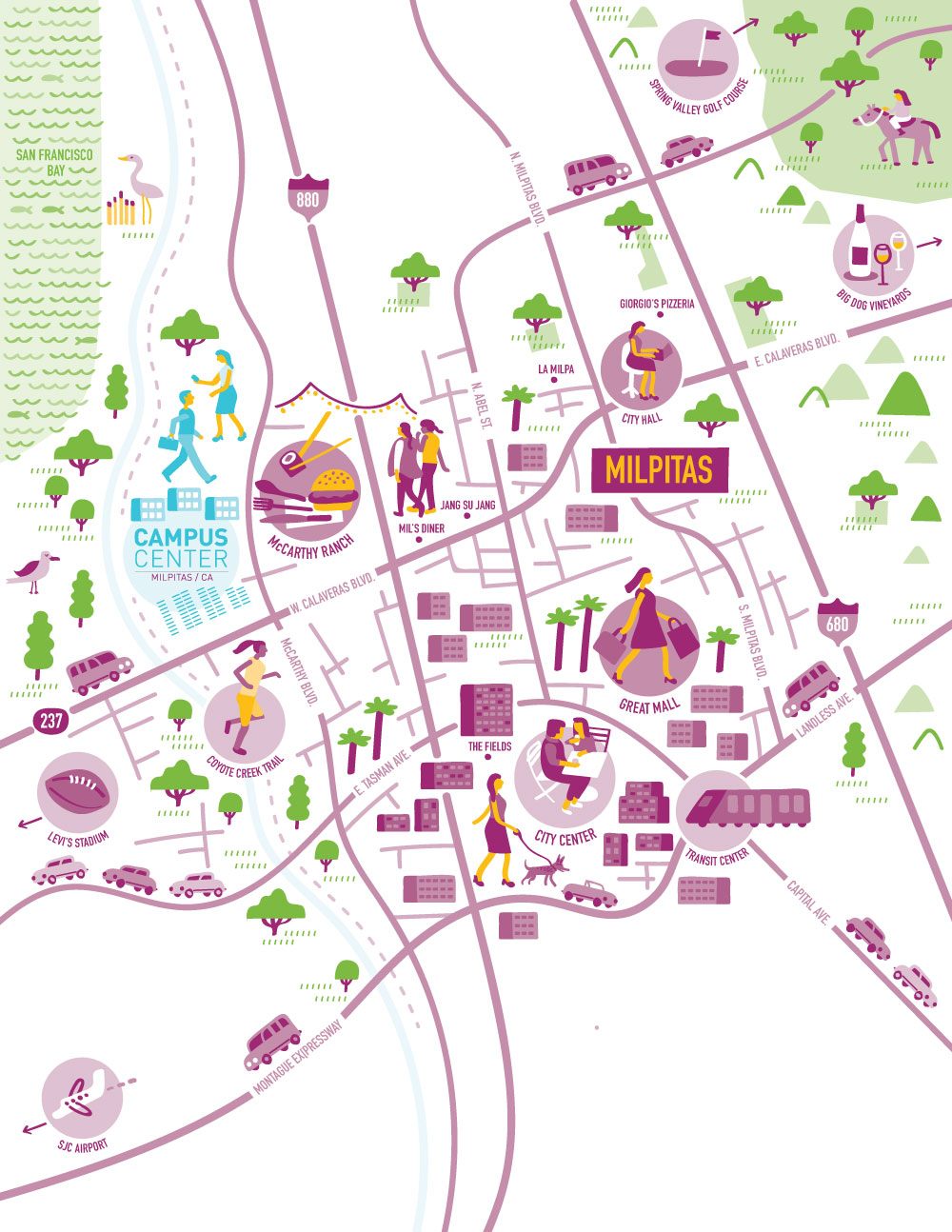 I Draw Maps: Illustrated Map of Milpitas, CA for Campus ...