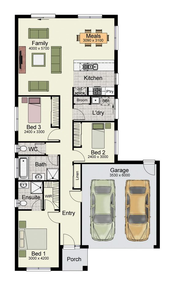 Single story home floor plan with 3 bedrooms, double garage, and 160 square meters