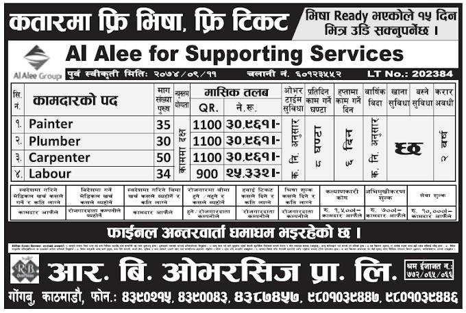 Free Visa Free Ticket Jobs in Qatar for Nepali, salary Rs 30,961