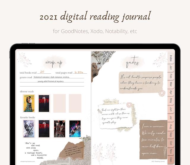 2021 digital reading journal for book lovers