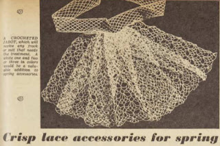 "black and white photograph from magazine of a lace crochet jabot. text reads ""A CROCHETED JABOT, which will revive any frock or suit that needs the treatment. A white one and two or three in colors would be a valuable addition to spring accessories'"