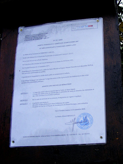 Notice forbidding shooting, Indre et Loire, France. Photo by Loire Valley Time Travel.