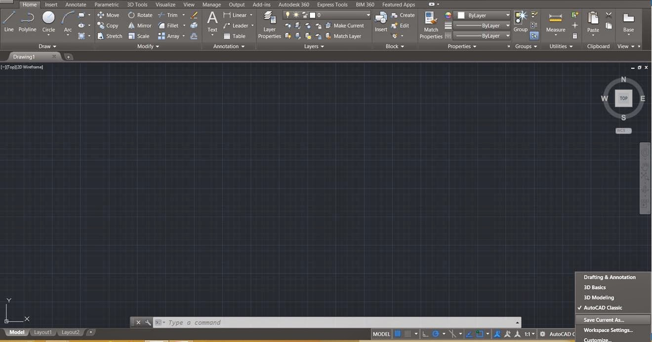 AutoCAD 2015: Restoring the Classic Worskpace