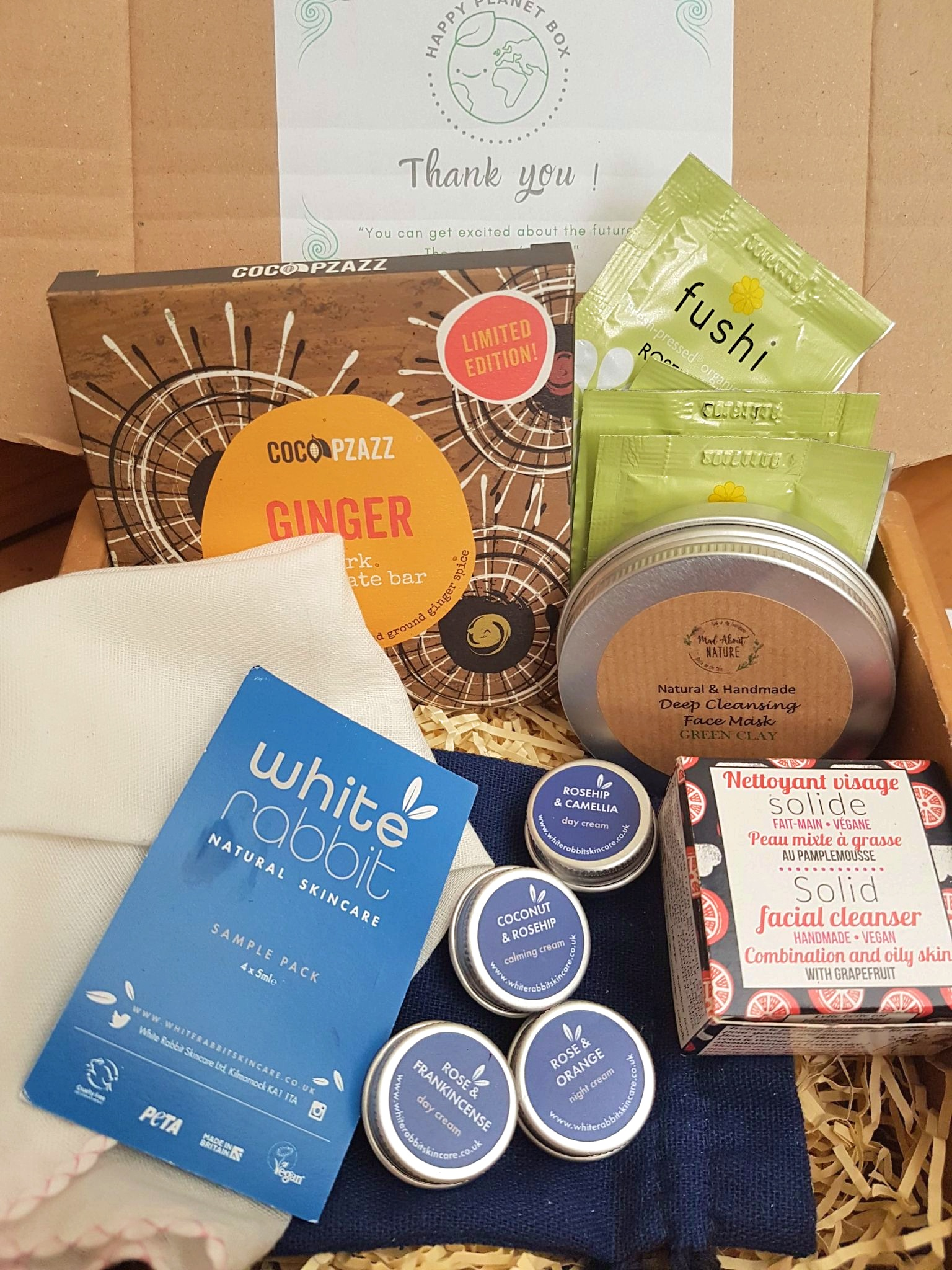 ethical skincare and chocolate from the winter Happy Planet Box