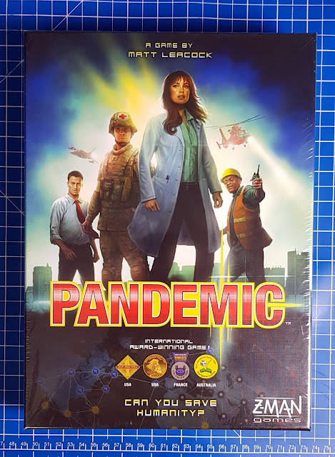 Pandemic Board Game boix cover showing mysterious figures in outfits - workman doctor soldier medic businessman