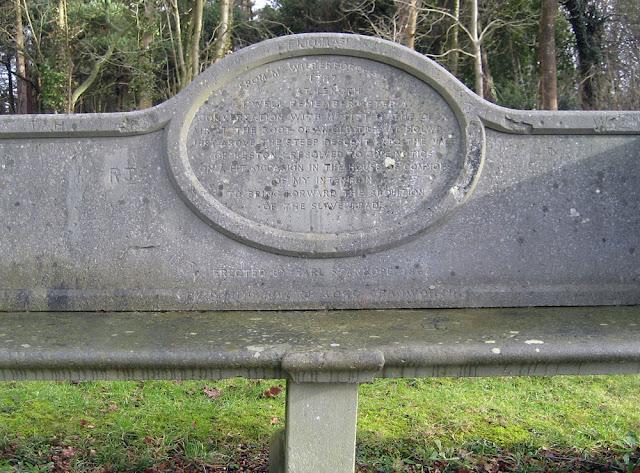 The Wilberforce Oak commemorative seat on 5 February 2010.