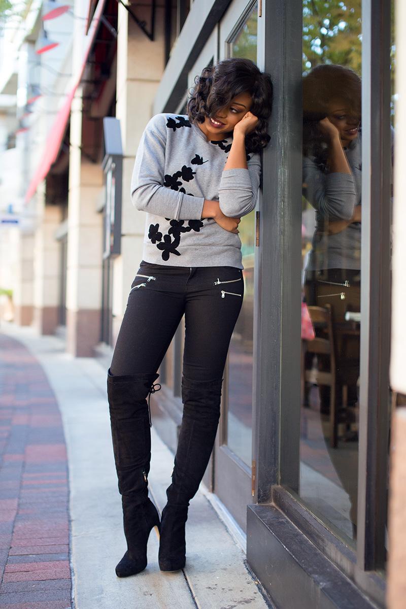 Casual weekend look, jcrew graphic floral sweatshirt, over the knee boot, www.jadore-fashion.com