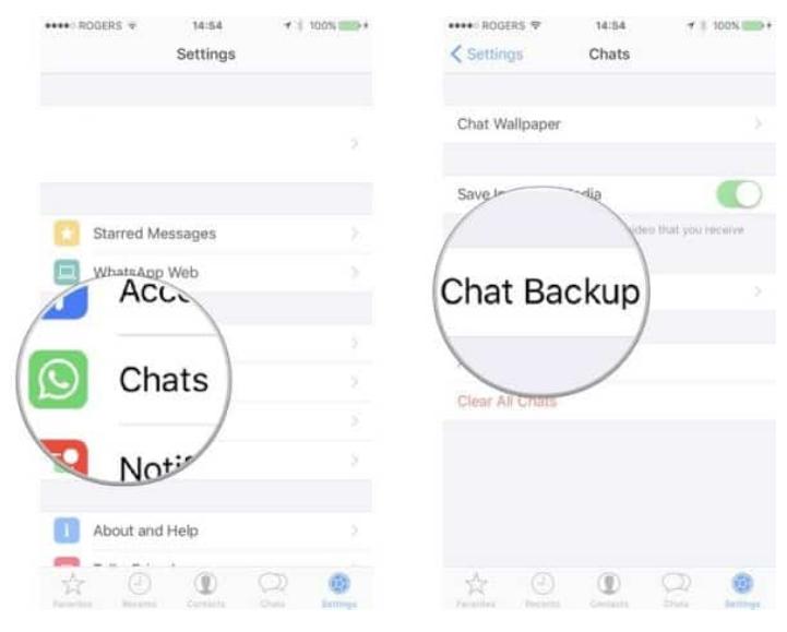 Select Chats > Chat Backup