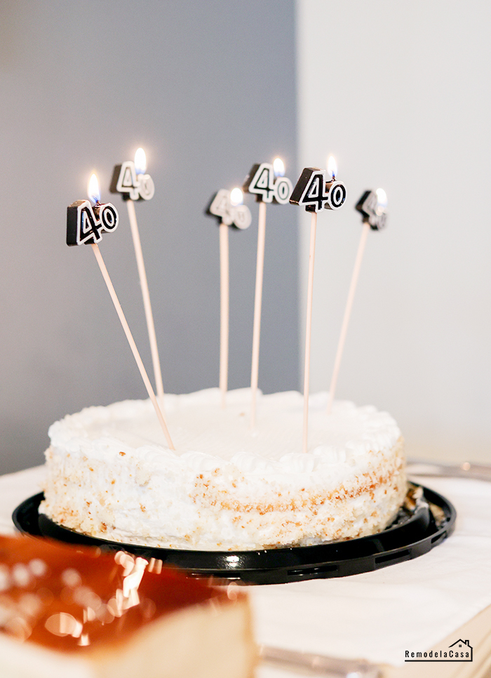 store bought cake with fun birthday candles