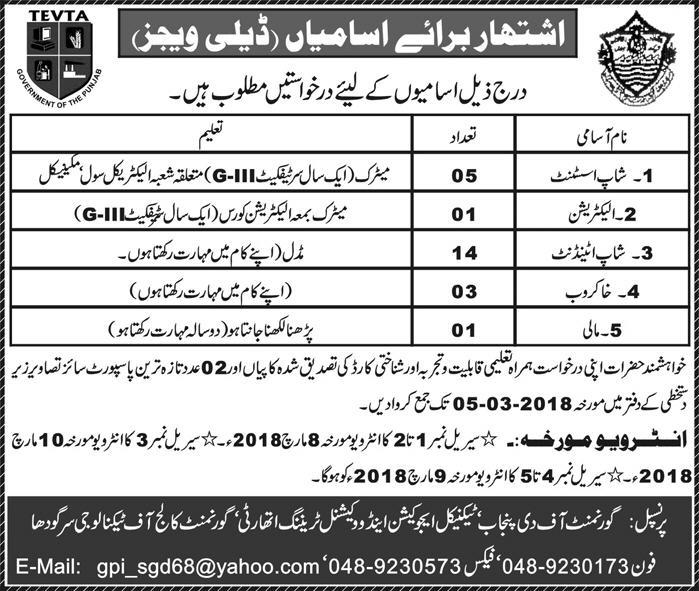 Jobs in Technical Education And Vocational Training Authority TEVTA Sargodha Feb 2018