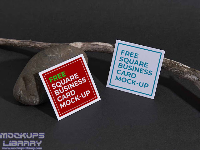 square business card mockup 2