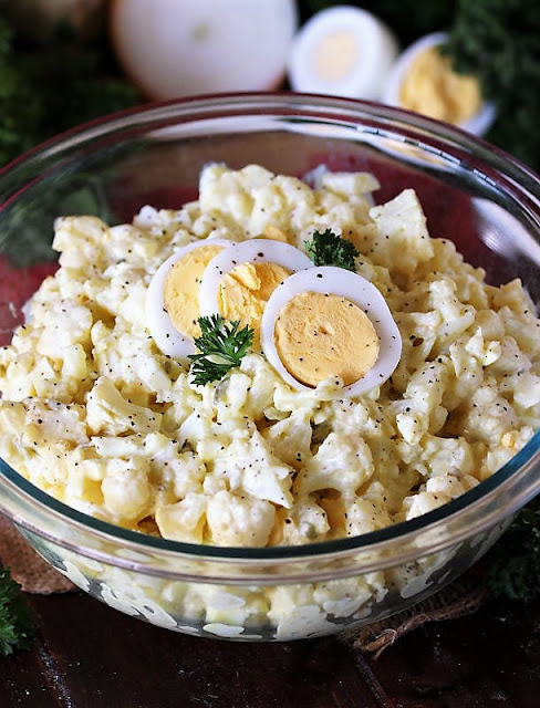 Bowl of Potato Salad Made with Cauliflower Image