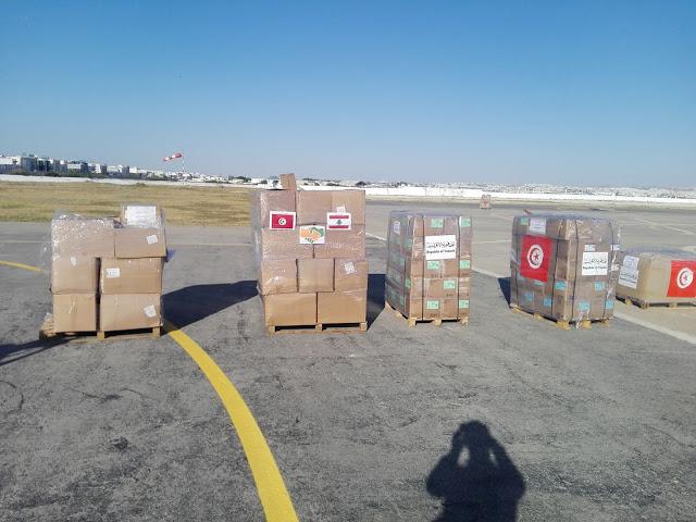 المطار العسكري بالعوينة : انطلاق شحنة ثانية من المساعدات نحو بيروت (صور)