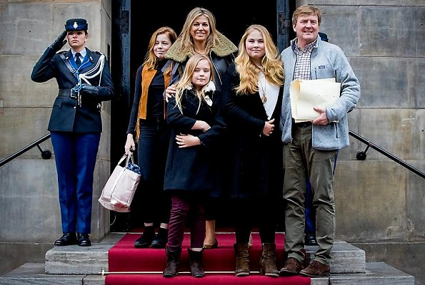 Queen Maxima wore Sandro Paris jacket and Wool blend sweater. Princess Alexia wore Mango gillet. Princess Aimee wore Cefinn dress