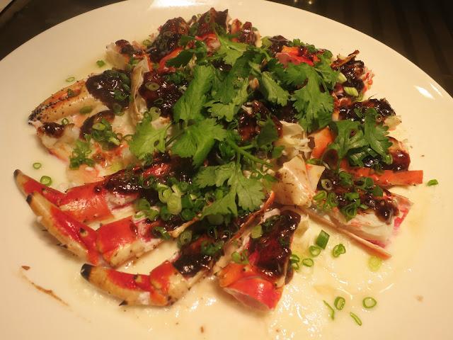 alaskan king crab with black garlic