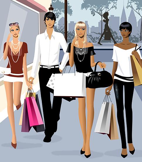 jóvenes de compras en vector