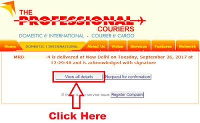 how to track professional courier with consignment number