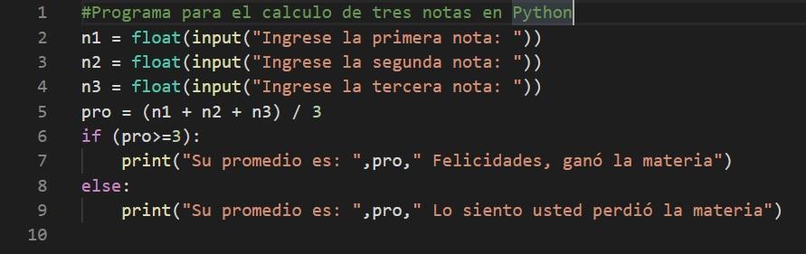 calcular promedio de notas en Python