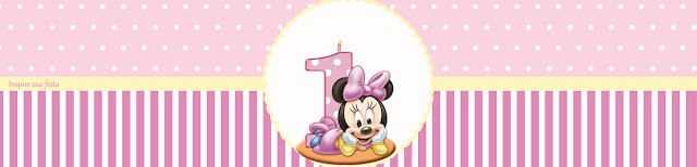 Minnie First Year in Pink: Free Printable Candy Bar Labels.