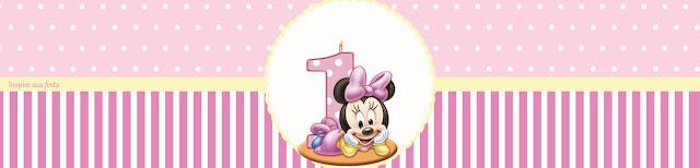 Minnie Primer Año: Etiquetas para Candy Bar para Imprimir Gratis.