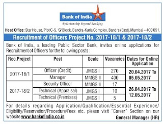 BANK OF INDIA MANAGER, SECURITY OFFICER, CREDIT OFFICERS 702 BANK JOBS RECRUITMENT EXAM 2017
