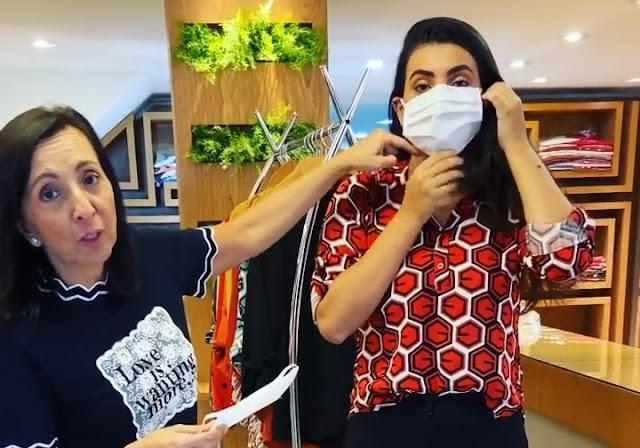 Empresária da Rua Teresa ensina como usar máscara